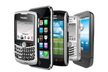 Picture of five cellphones